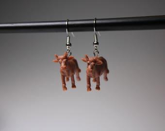 Brown Cow Earrings