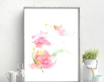 Peony, pink, fast print, instant download, pastel colors, pink flowet rs, watercolor, decor, flowers decor,art, botanical painting