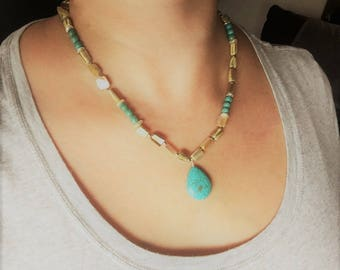 Turquoise and Metallic Beaded Necklace