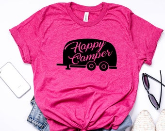 happy camper, camping shirt, outdoor shirt, camper, birthday shirt, smores, camp fire, gift for her