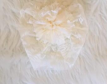 Tiny Turban- Ivory Lace
