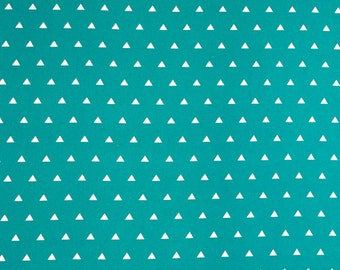 Green Triangle Cotton Fabric, 100% Cotton, Fabric By the Yard, Quilting Fabric, Apparel Fabric, Triangle Print Fabric