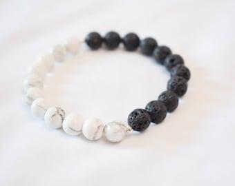 Howlite & Lava Stone Diffuser Bracelet