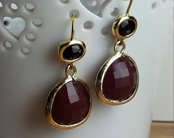 Jet black and red glass gold framed drop earrings - wedding jewellery - bridesmaid gift - elegant