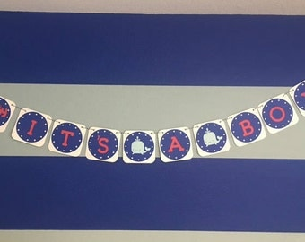 Boy Baby Shower, Nautical, Red, White, Blue, Whale