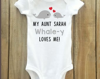 Aunt gift for baby, Aunt shirt, Aunt shirt for baby, baby shower gift, whale baby shirt, aunt gift, auntie shirt, i love my auntie, aunt