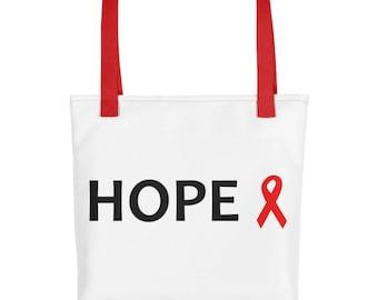 Hope Red Awareness Ribbon Tote Bag, Chronic Illness Tote Bag, Red Ribbon, Tote Bag, Awareness Ribbon