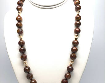 14K Gold Tiger Iron Necklace, 12mm, 22 inches