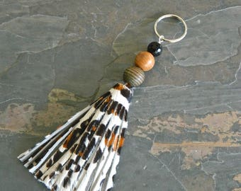 Leopard Leather Tassel Keychain, Tassel Gemstone Keychain, Fur Tassel Keychain, Fringe Keychain, Bag Purse Tassel Charm, Unique Gift