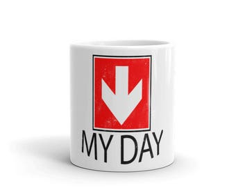 My Day Downer Spartees distressed white Mug