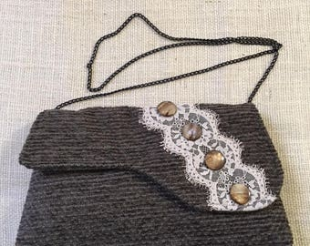 Vintage 1920s Style Dark Gray Chenille Purse