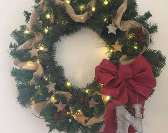 Rustic Stars Holiday Wreath