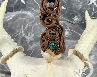 Citrine and Turquoise hand sculpted necklace Talisman - Altar Tool - Pendant - Amulet - Pagan - Wiccan - Witch - Magick - healing stone