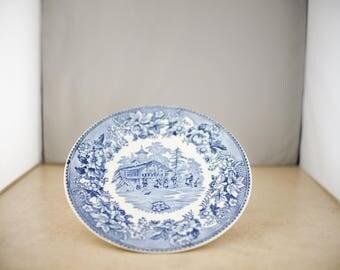 Avon Cottage Thos Hughes & Son Longport Staffordshire England Blue Transfer Plate
