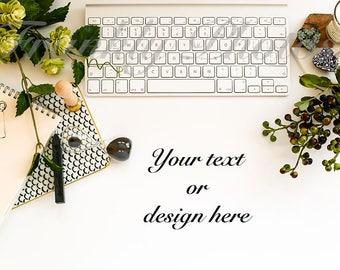 Floral Desk Styled Stock Photo / Styled Stock Photography / Feminine Flatlay / Lifestyle Image / Desktop Mockup / Frankly Photos File #35