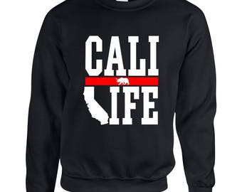 California Life Cali  Adult Clothing Unisex Sweatshirt Printed Crew Neck Sweater for Women and Men