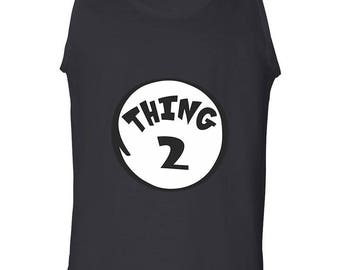 Thing 2 Funny Clothing Adult Printed Camisole Designed Tank Top Men's Shirt Sleeveless
