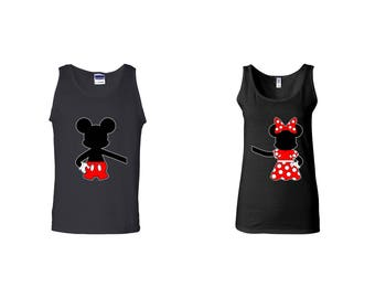Valentine Gifts Mickey Minnie Mouse Hugging Backs Disney COUPLE Printed Adult Tank Tops Unisex Tops for Men Women Matching Clothes