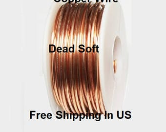 1 Lb. Round Solid Copper Wire ( Dead Soft ) On Spool - 99.9% Pure Copper ( Gauges -10 - 12 - 14 - 16 - 18 - 20 - 22 - 24 - 26 - 28 - 30 )