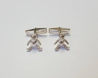 Teddy Bear Cufflinks in .925 Sterling Silver
