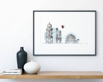 Wanderlust Art Print, Illustrated Graphic Travel Gift, Abstract Art Print, Gift for Architect, Housewarming Gift, Architecture Wall Art