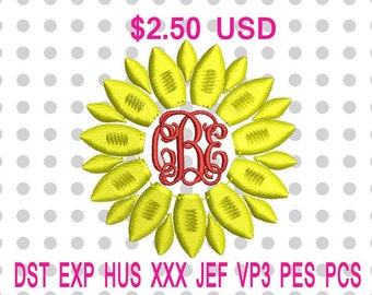 Sunflower Machine Embroidery Design 5 Sizes-INSTANT DOWNLOAD