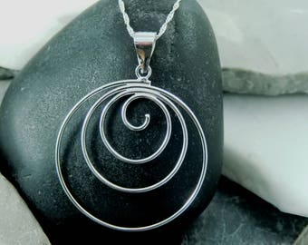 Silver Spiral necklace, Large Silver Necklace, Circle Necklace, Spiral Pendant, Gift For her, Birthday Gift, Anniversary Gift,