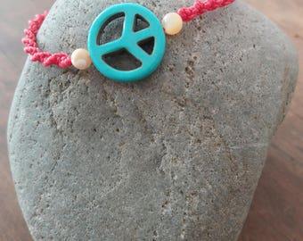 Turquoise Pearl macrame bracelet