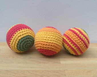 Multicolored balls crochet (juggling and toy children)