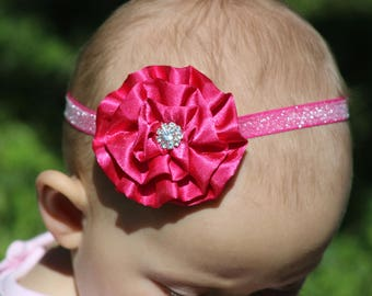 Pink Glitter Baby Bow -Pink Baby Headband -  Pink Baby Photo Prop - Baby Hairbows - Newborn Headband - Infant Headband - Baby Shower Gift