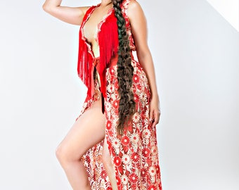 1 Red lace dress, burning man collection, festival, costumes.