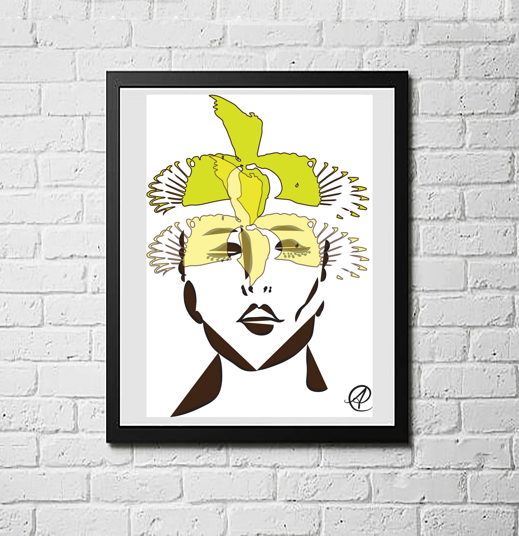Fashion Wall Art Interesting Woman And Bird Woman Art Woman Art Print Woman Artwork Fashion Design Inspiration
