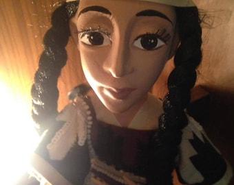 Sajo native American girl handmade art doll Laisves dolls