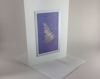 Silver fern on lavender embossed Christmas card, individually handmade: A7, peace on earth, holiday card, winter, peace, SKU PEA71006