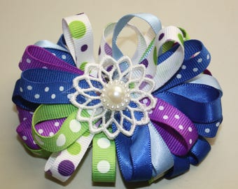 Handmade Hair Bow, Multi-colored loop bow, french barrette