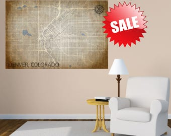 DENVER CO Canvas Print, CO Colorado Vintage map, Horizontal Wall Art, Vintage map, Extra Large Wall Art, neutral poster, Wedding Gift Idea