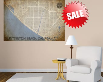 Huntington Beach Map, CA Poster, California Wall Art, Gift, Map of California, Decor, Print, Huntington Beach Art, Huntington Beach Print