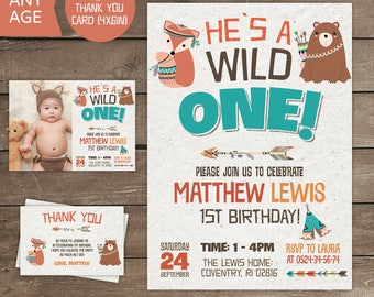 Wild One Birthday Invitation, Wild One Birthday, Wild One Birthday Boy, Tribal,Tribal Invitation, Wild One Invite, party, 1st, Printable