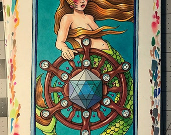 Tarot Card 10 WHEEL OF FORTUNE from Oddity Tarot Deck - Giclee Print - Free Shipping