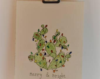 Merry & Bright Cactus Original Watercolor/Ink