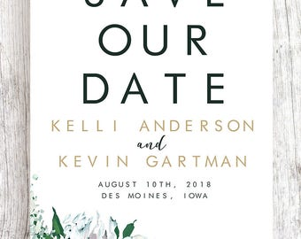 White Floral Save the Date with Double Gold Frame - TWO SIDED Fully Customized and Printable Download Available