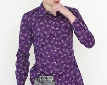 VINTAGE Purple Round Circle Pattern Long Sleeve Button Downs Retro Shirt