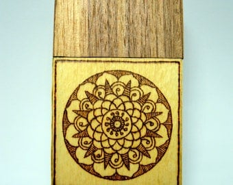 Wooden cigarette box (american walnut and white beech wood) with burned in mandalas