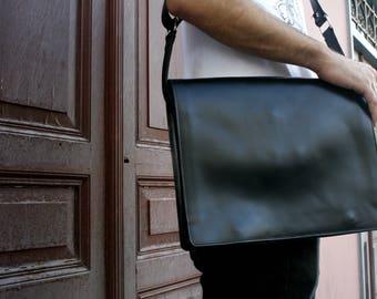 Leather Messenger Bag, Black Leather, Laptop Business Bag, Leather Briefcase, Gift For Men, Gift For Him, Leather Bag, Men Messenger Bag