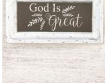 God is Great pressed tin sign