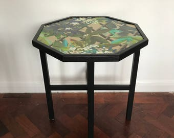Upcycled vintage hexagon side table