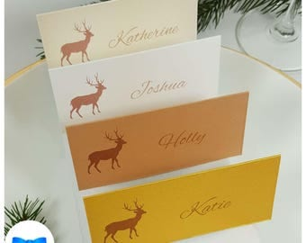 Christmas Place Cards  - Reindeer Place Cards -Scandinavian Festive Place Cards - Personalised Nordic Christmas Table Place Settings - Deer