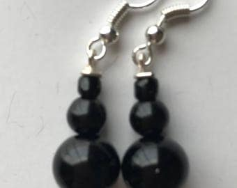 Black Beaded Drop Earrings, Black Beaded Earrings, Black Drop Earrings, Black Earrings, Beaded Earrings Black