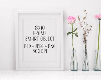 8x10 White Mockup Frame Portrait flowers JPEG PNG PSD smart object Digital Empty floral Template Mock Up Picture Photo Display Vertical
