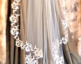 Blush Chapel Veil / Soft Lace Chapel Veil / Beaded Lace Chapel Veils / Chapel Length Bridal Veil / Chapel Length Wedding Veil / Blush Veil